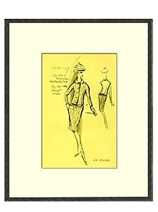 Vintage Women's La Roche Fashion Sketch c.1968
