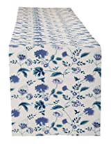 Gorgeous Hand Block Printed Cotton Table Runner White Floral By Rajrang
