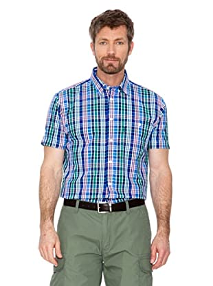 Cortefiel Camisa Cuadros (Verde / Azul / Blanco)
