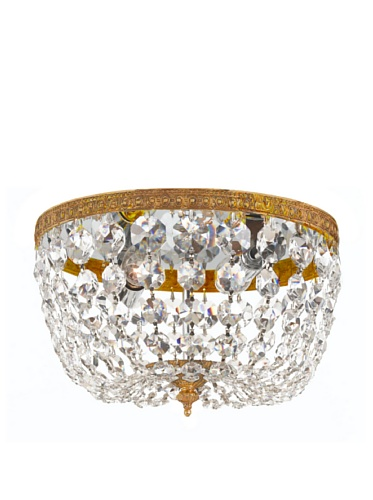 Gold Coast Lighting Crystal Basket, Olde Brass