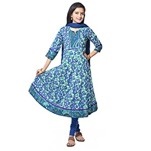 Blue Flower Print cotton Anarkali Kurti