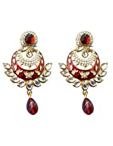 Dhwani Creation Drop Alloy Earrings For Girls and Women (Maroon)