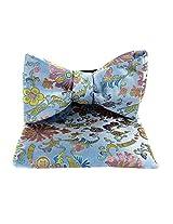 FBT-VS-633 - Sky - Gold - Pink - Ultra Modern Self Tie Bow Tie Hanky