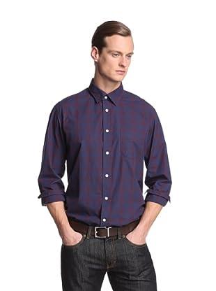 Façonnable Tailored Denim Men's Muted Plaid Shirt (Brick Red Multi)