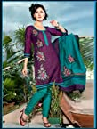 Purple Printed Chanderi Silk Salwar Kameez: