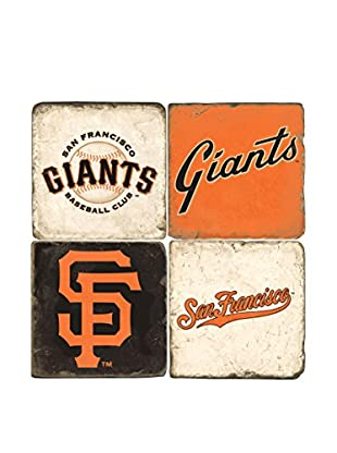 Studio Vertu Set of 4 Giants Logoed Tumbled Marble Coasters with Stand