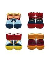 Luvena Fortune - Gift Pack of 4 baby Socks (0-9 M)