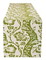 Ethnic Hand Block Printed Cotton Table Runner White Floral By Rajrang