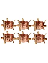 Indian Art Villa Copper Brass Set of 6 Sigri Food Warmer Angeethi Traditional SIGDI for use Restaurant Ware Hotel Ware Home Ware