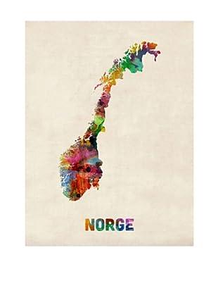 Trademark Fine Art Norway Watercolor Map by Michael Tompsett