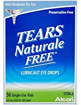 Alcon Tears Naturale Free Lubricant Eye Drops By Alcon, 0.03 Oz.X 36 Vials Ea