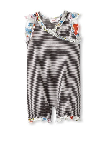 Jupon Baby Carli Short Sleeve Ruffled Romper (White/Black)