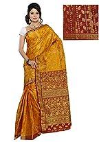 Alankrita Golden Musted X Meroon Color Allover Weaving Jari Design Saree