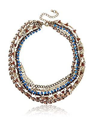 Sparkling Sage Multi-Chain Glass Stone Statement Necklace