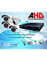 Hi Focus 4 CH 720P HDMI DVR, 1.0 MP 1 Pc Dome 3Pc Bullet CCTV AHD Security Camera System