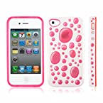 Kingcom IP130W Back Cover for iPhone 4/4S (White Pink)