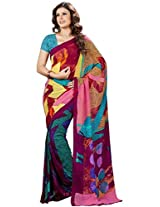 Vibes Women's Weighless butic Saree with Blouse (S22-1407A _Multi-Coloured)