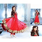Diya Mirza Red Black Anarkali Churidar Suit with Dupatta 8758