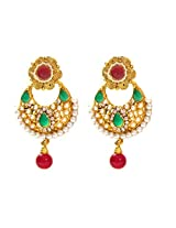 Bling - Green & Red Stone with Pearls Fashion Earings