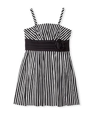 ABS Kids Girl's Cotton Sateen Dress with Rosette (Black/White)