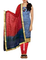 Unnati Silks Womens Cotton Self Print Salwar Unstitched Dress Material (Pr3453 _Blue::Red)