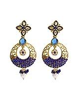 Unicorn's Ethnic Dangle Earring for Women with Antique Delicate Mesh and Kundan Stones (Blue) - UEKMER6301BU