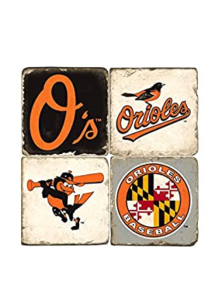 Studio Vertu Set of 4 Orioles Logoed Tumbled Marble Coasters with Stand