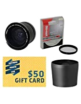Opteka .35x High Definition Super Wide Angle Panoramic Macro Fisheye Lens for Panasonic Lumix DMC-FZ70 FZ72 FZ70K Digital Camera Includes Tube Adapter DMW-LA8 With Bonus 67MM High Definition II UV (0) Ultra Violet Haze Multi-Coated Glass Filter + $50 Photo Print Gift Card!