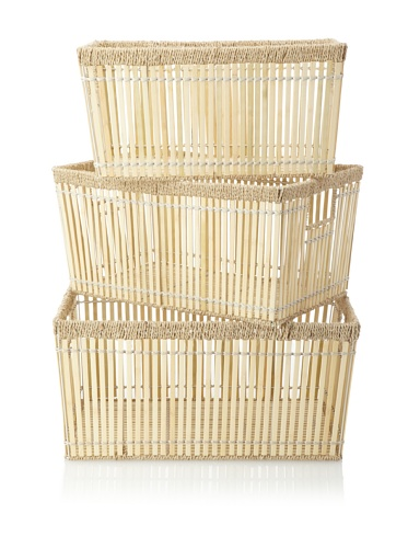 Wald Imports Set of 3 Bamboo Baskets, Bleach White