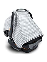 2 in 1 Nursing Scarf Cover Up Apron for Breastfeeding & Baby Car Seat Cover - Universal Fit for Newborns, Infants, Boys & Girls All Weather - Organic Cotton Breathable Canopy Blanket -Best Shower Gift