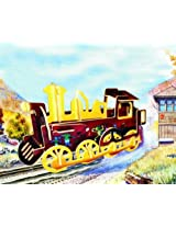 Colorful Wood Craft Construction 3D Jigsaw Puzzle - Rolling Locomotive