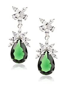 CZ by Kenneth Jay Lane Pear Drop and Cluster Earrings, Emerald Green