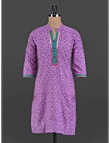 Purple printed cotton kurta