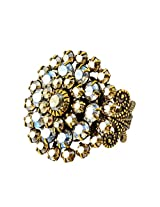 Liz Palacios Antique Gold Plated Swarovski Crystal Adjustable Flower Ring