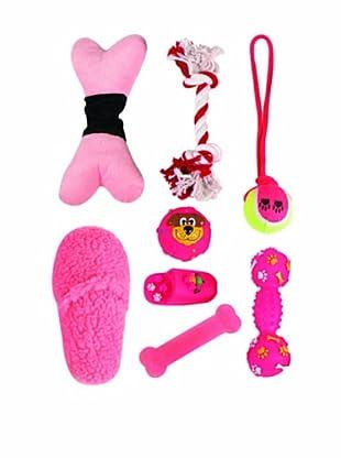 Pet Life Pet Toy Set in Duffel Bag, Hot Pink