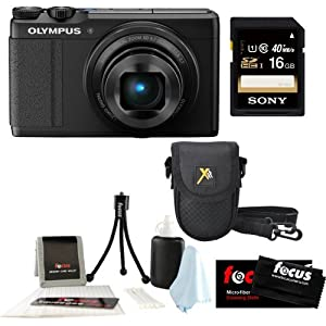 Olympus XZ-10 iHS 12MP Digital Camera (Black) with 5x Optical Zoom Image Stabilized + 16GB Memory Card + Camera Case + Accessory Kit