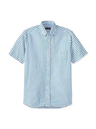 Gitman Blue Men's Gingham Seersucker Shirt (Navy)