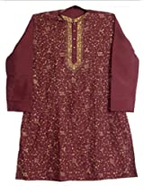Dollsofindia Embroidered Maroon Kurta (Xxx-Large_Red_Silk Cotton)