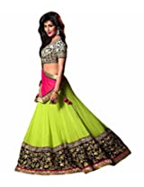 Orange Fab Women's Pink Silk and Net Lehenga Choli