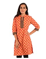 Diva Women's Cotton Regular Fit Kurti (Divakurti_18_44, Orange, 44)