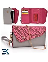 GREY & PINK ZEBRA | Universal Women's EPI Leather Wallet Phone Bag with Wrist Strap Shoulder Purse fits T-Mobile Concord Case. Bonus Ekatomi Screen Cleaner