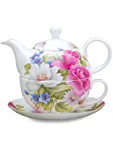 Gracie Bone China 4-Piece Tea For One Stacked 9-Ounce, Pink Grace's Rose