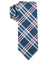 Scott Allan Men's 100% Silk Plaid Necktie - Teal/Purple
