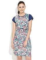 109f Abstract Painterly Dress, Medium Blue, 3l
