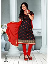 Fabfirki The New Designer Attractive Red And Black Salwar Suit