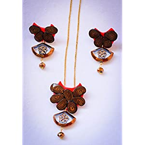 Saakar Polymer Clay Red Neckpiece Earrings Set