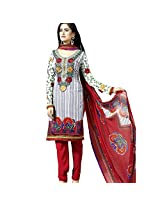 Ali Colours Crepe fabric Embroidered Dress Material for Women