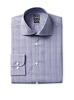 Ike Behar Men's Long Sleeve Classic Fit Checked Dress Shirt (Ink Blue)