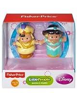 Fisher Price Little People Disney Princess Figures Bundle Includes Three (3) 2 Pack Figures: 1 Jasmine & Aladdin, 1 Ariel & Aurora, And 1 Cinderella & Prince Charming