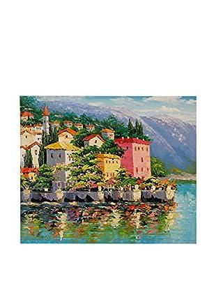 Arte Dal Mondo Pintura al Óleo sobre Lienzo Riflessione Del Lago Di Como